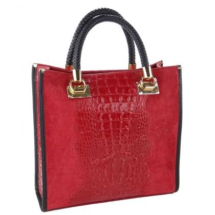 Чанта от естествен велур с кроко щампа, Тъмно червено 1367-6