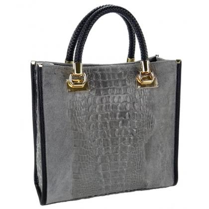 Италианска кожена чанта с велур и кроко