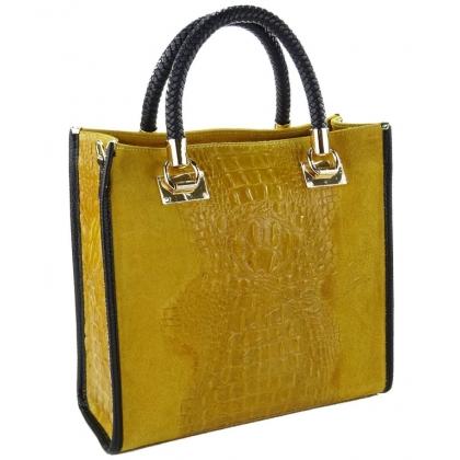 Чанта от естествен велур с кроко щампа, Горчица 1367-9