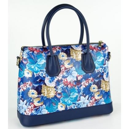 Стилна дамска кожена чанта с флорални мотиви и тъмно сини дръжки 1155-6
