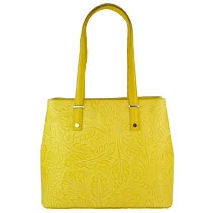 Чанта от естествена кожа с щампа с флорални мотиви 1154-5