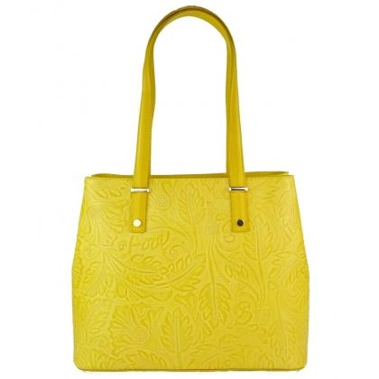 Чанта от естествена кожа с щампа с флорални мотиви 11543-5