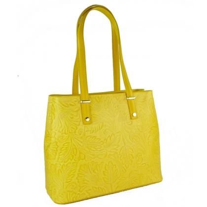 Кожена чанта с щампа с флорални мотиви в жълто