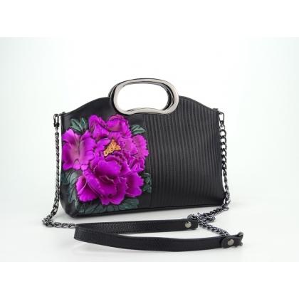 Черна малка чанта, Цветя, 616111-11