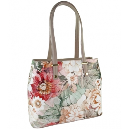 Чанта от естествена кожа с флорални мотиви 1154-7