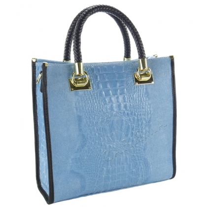 Чанта от естествен велур с кроко щампа, Светлосиня, 1367-7