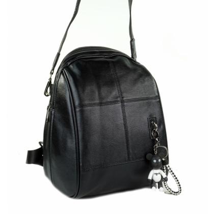 Черна дамска чанта раница с шал и портмоне, 991