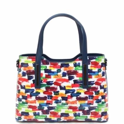 Многоцветна кожена чанта, 11111-7
