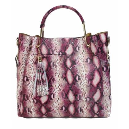 Луксозна кожена чанта, Змийски принт, L1153-7