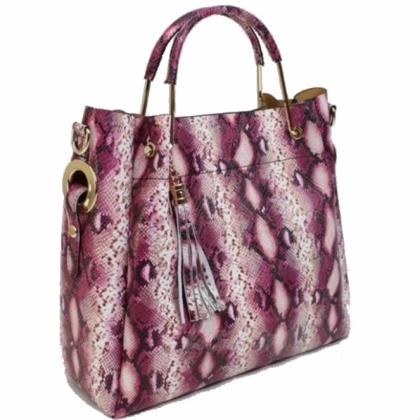 Луксозна кожена чанта с змийски принт 1153L-7