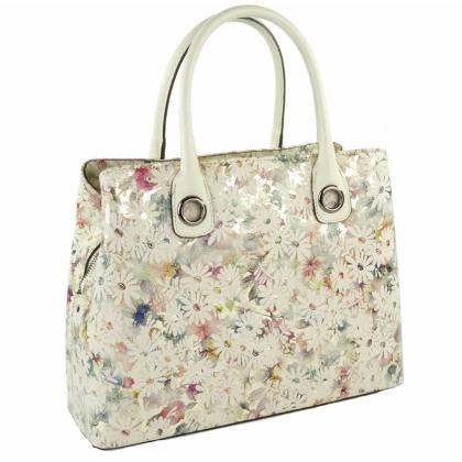 Луксозна кожена чанта, Бежава, Цветя, 1603-1