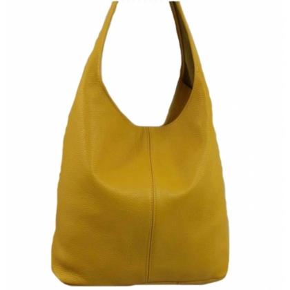 Дамска чанта тип торба от естествена кожа, Горчица,1394-4