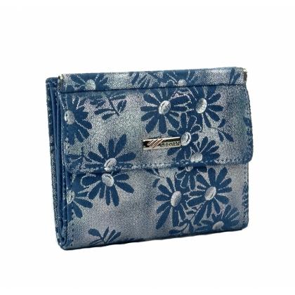 Малко луксозно портмоне с ефектна щампа, синьо 1399