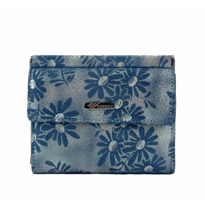 син цвят портмоне с сребристи отблясъци