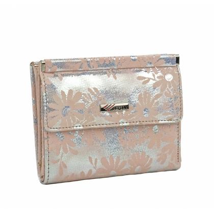 Малко луксозно портмоне с ефектна щампа, светло розово 1399-1