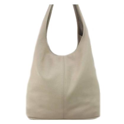 Чанта тип торба от естествена кожа, Бежова, 1394-7