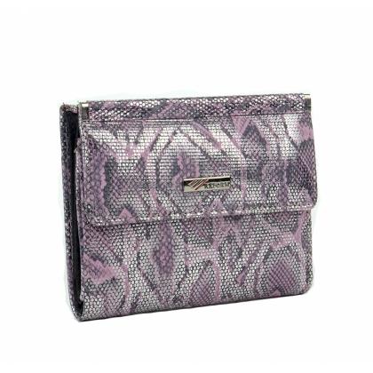 Луксозно портмоне с ефектна змийска щампа, сребристо-лилаво 1399-2