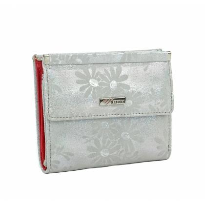 Луксозно дамско портмоне с ефектна щампа, бяло 1399-3