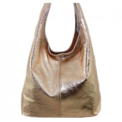 Дамска кожена торба, Розово Злато, 1394-9