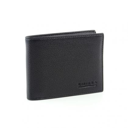 Мъжко черно портмоне от естествена кожа, 110112