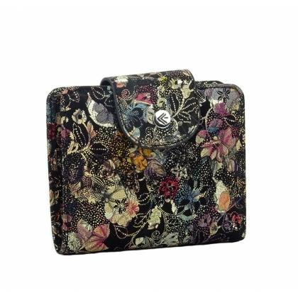 Дамско кожено портмоне с флорални мотиви 1527-2