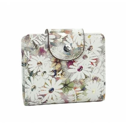Бяло дамско кожено портмоне на цветя