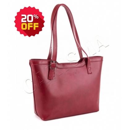Класическа кожена чанта , Тъмно червен1444