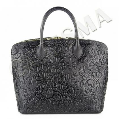 Черна кожена чанта на цветя