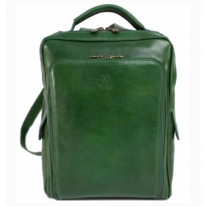 Голяма кожена раница, Зелена, 15335-2