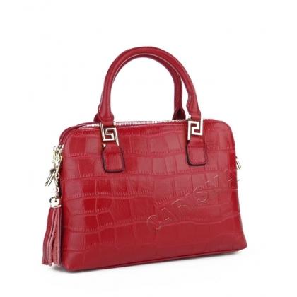 Кожена чанта с три отделения, тъмно червена, 038V-2
