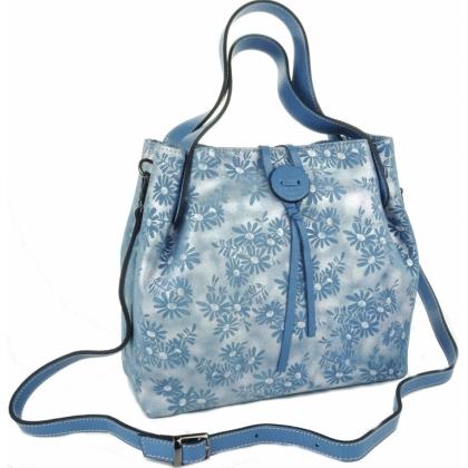 Луксозна кожена чанта, Синя, 7655