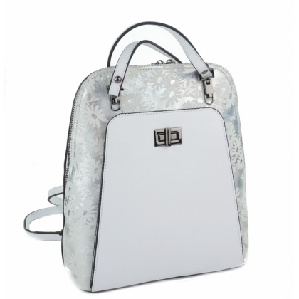 Ефектна дамска чанта раница, Бяла, 717-2