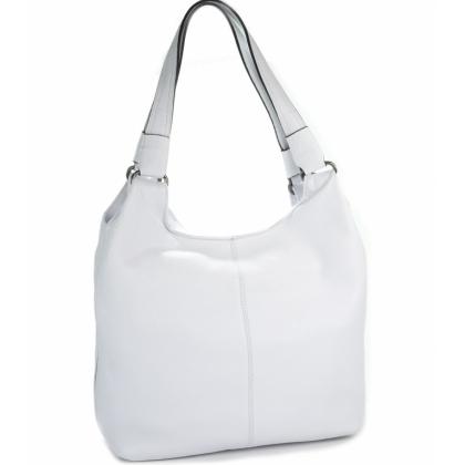 Мека кожена чанта, Бяла, 0911-4