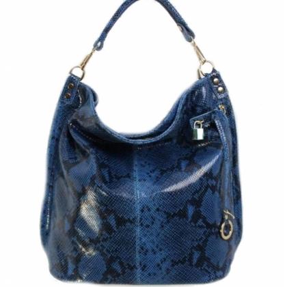 Дамска чанта с къса и дълга дръжка, Синя, Змийска, 16668