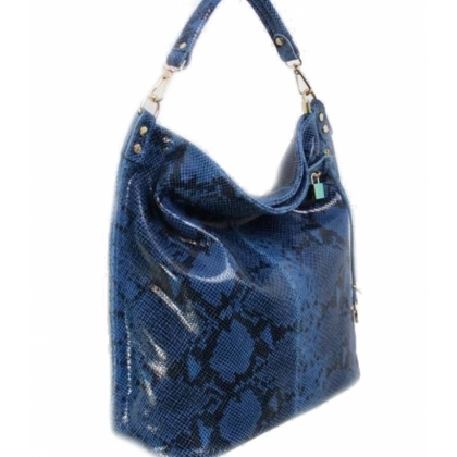 Тъмносиня кожена чанта