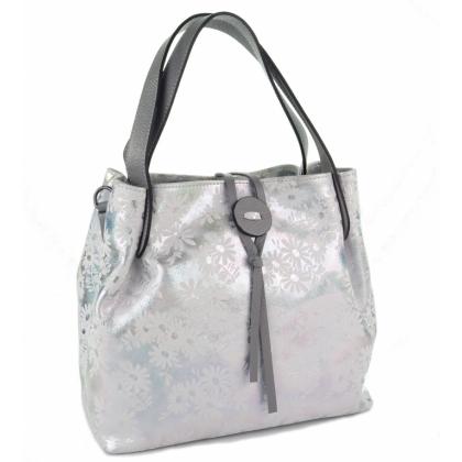 Луксозна бяла чанта на цветя, 7655-1