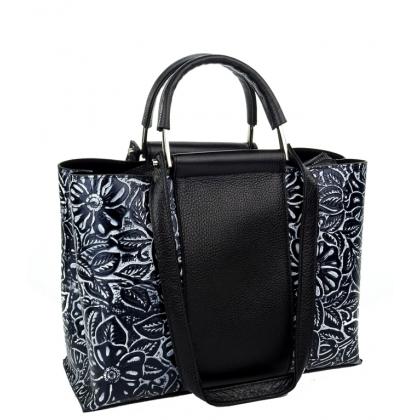 Черна дамска чанта, Естествена кожа, 4438
