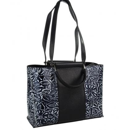 Черна чанта на цветя