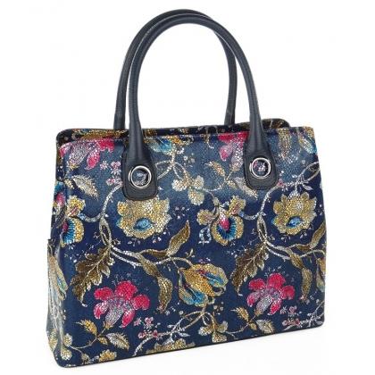 Стилна дамска чанта с флорални мотиви 1603
