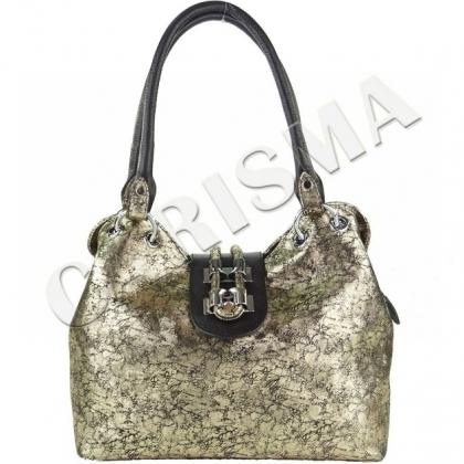 Златиста дамска чанта от естествена кожа 1827-1