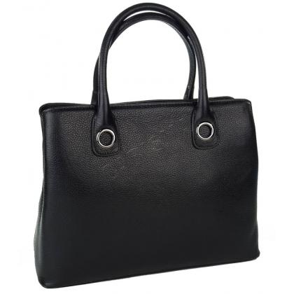 Стилна дамска кожена чанта в черно 1603-2