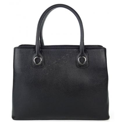 дамска чанта от естествена кожа в черно