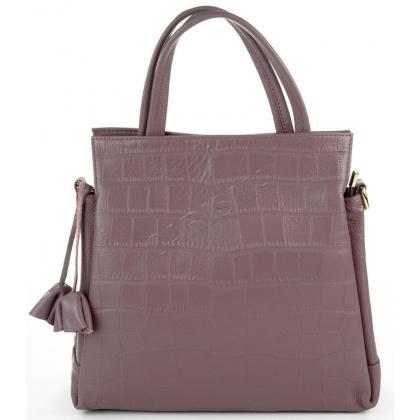 Чанта от естествена кожа в лилаво