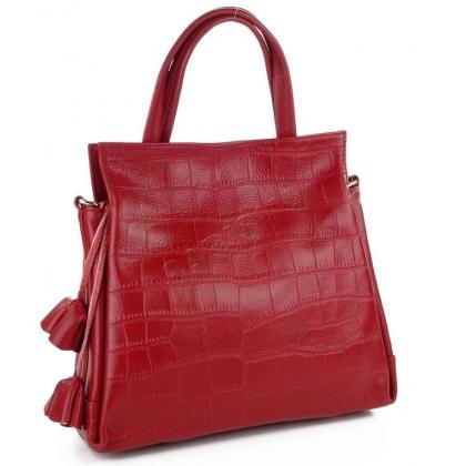 Стилна дамска чанта от естествена кожа в тъмно червено 1483-1
