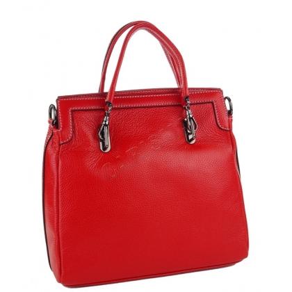 Дамска кожена чанта в червено 8327