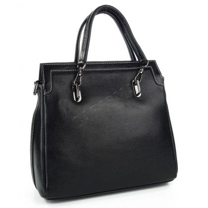 Чанта от естествена кожа в черно