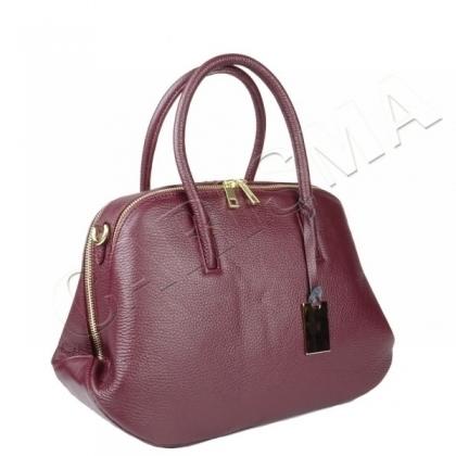 Дамска кожена чанта в цвят бордо