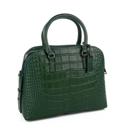 Кожена чанта в тъмно зелен цвят