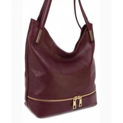Кожена чанта за рамо, Бордо,1075-4