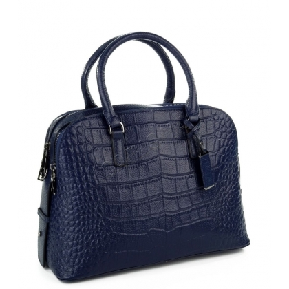 Дамска кожена чанта тип шагрен в тъмно синьо 1822-1